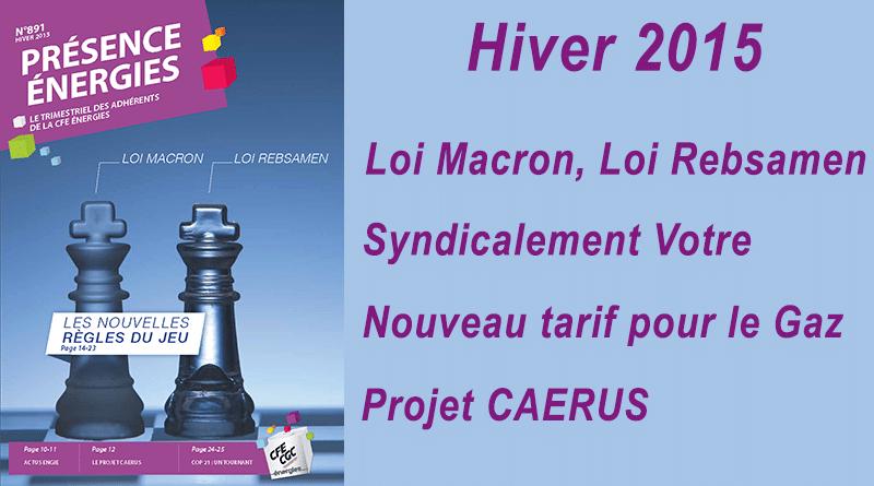 Présence Energies n° 891 – Hiver 2015