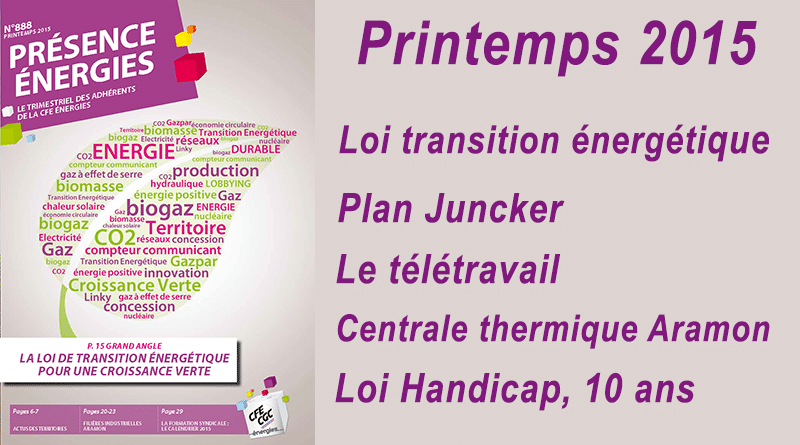 Présence Energies n° 888 – Printemps 2015
